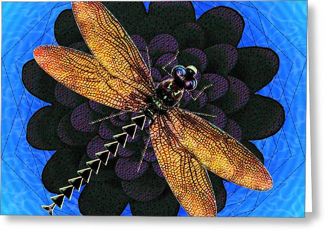 Greeting Card featuring the digital art Dragonfly Snookum by Iowan Stone-Flowers