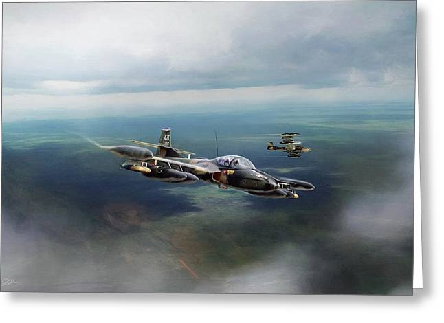 Greeting Card featuring the digital art Dragonfly Special Operations by Peter Chilelli