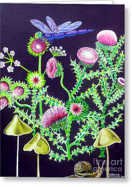 Dragonfly Thistle And Snail Greeting Card by Genevieve Esson