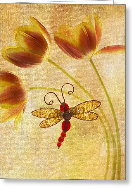 Dragonfly Tulips Greeting Card by Rebecca Cozart