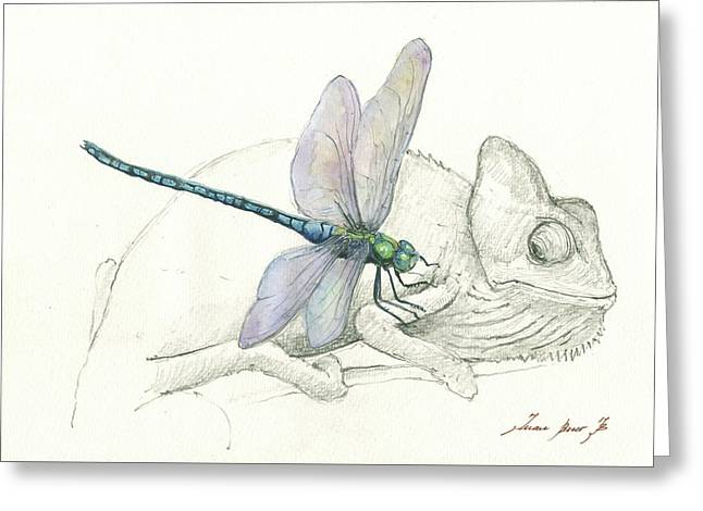 Dragonfly With Chameleon Greeting Card