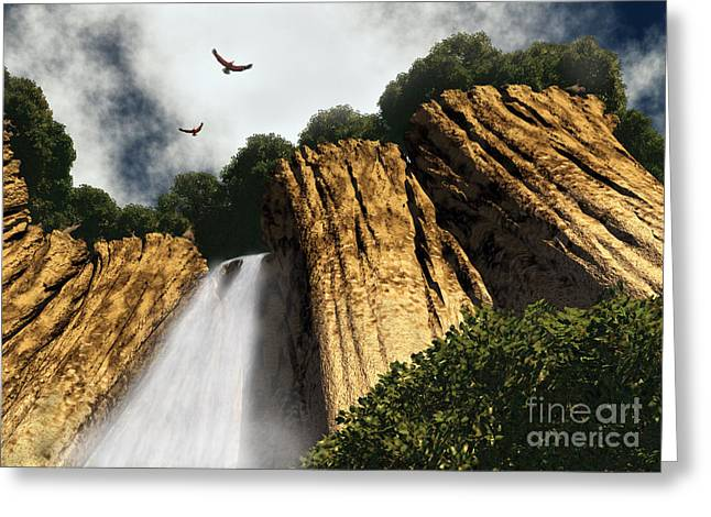 Digital Art Greeting Cards - Dragons Den Canyon Greeting Card by Richard Rizzo