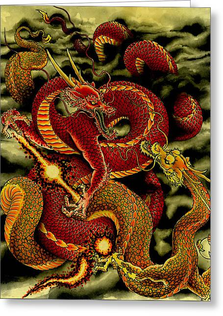 Dragons Greeting Card by Nick Taylor