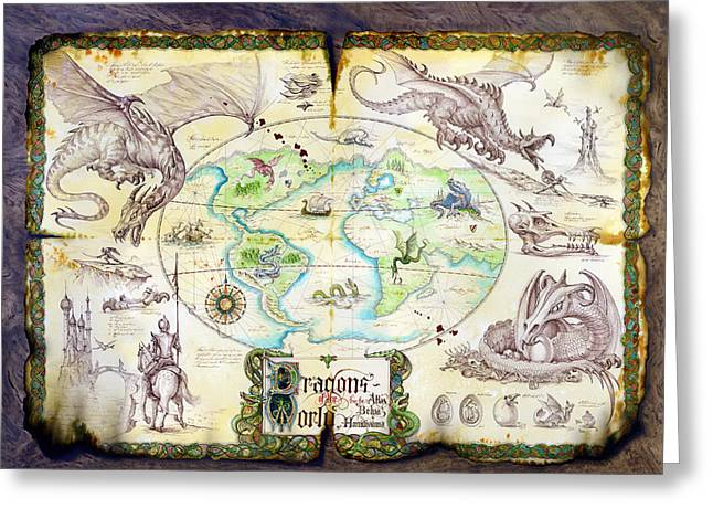 Dragons Of The World Greeting Card by The Dragon Chronicles - Garry Wa