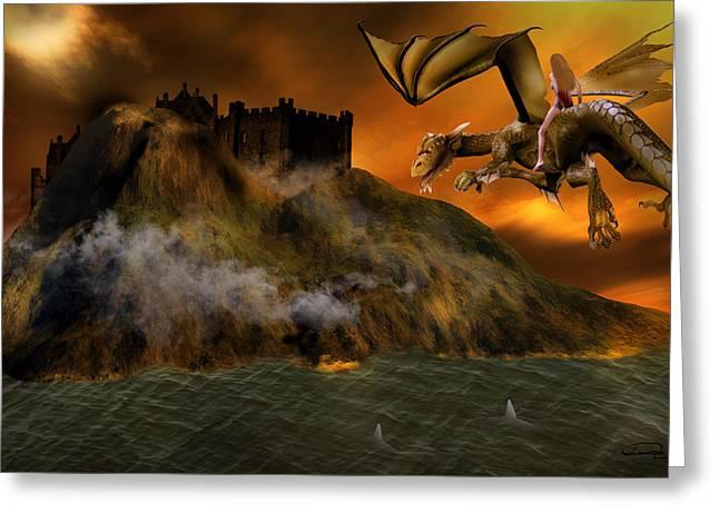 Dragons Return To Lost Island Greeting Card by Emma Alvarez
