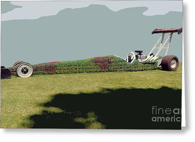 Greeting Card featuring the photograph Dragster Flower Bed by Bill Thomson