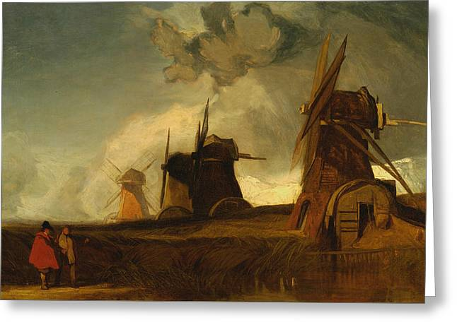 Drainage Mills In The Fens, Croyland, Lincolnshire Greeting Card by John Sell Cotman