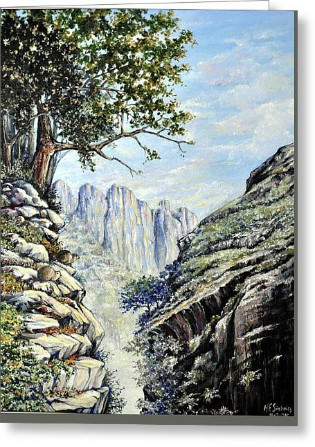 Greeting Card featuring the painting Drakensberg by Heidi Kriel