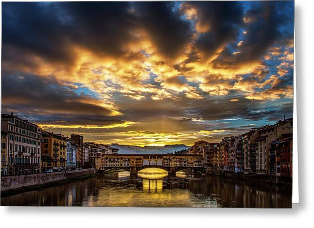 Drama Over Ponte Vecchio Greeting Card by Andrew Soundarajan