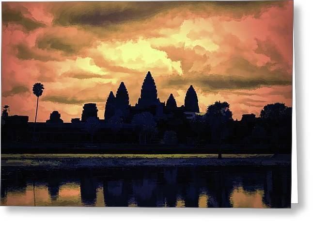 Dramatic Angkor Wat  Greeting Card