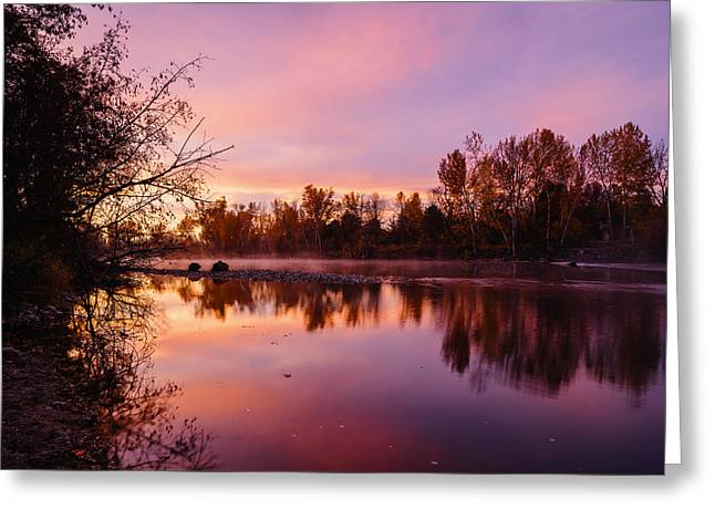 Dramatic Autumn Sunrise Along Boise River Boise Idaho Greeting Card by Vishwanath Bhat