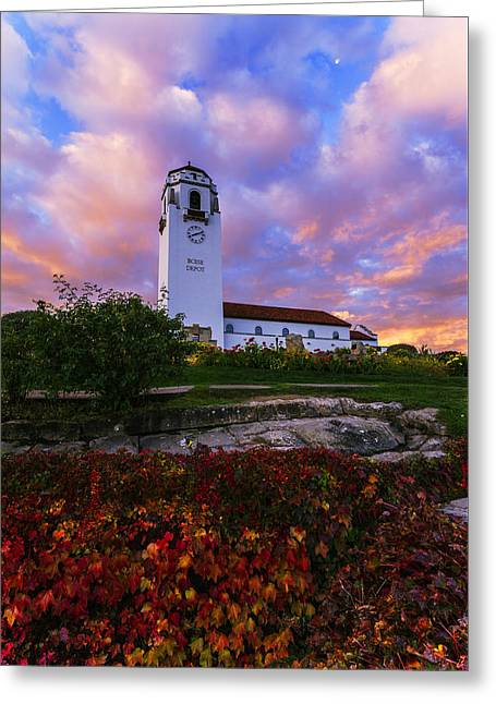 Dramatic Autumn Sunrise At Boise Depot In Boise Idaho Greeting Card by Vishwanath Bhat