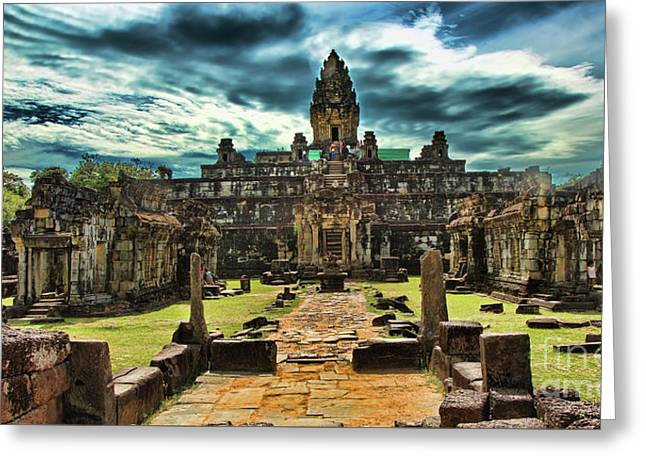 Dramatic Bankong Temple  Greeting Card by Chuck Kuhn