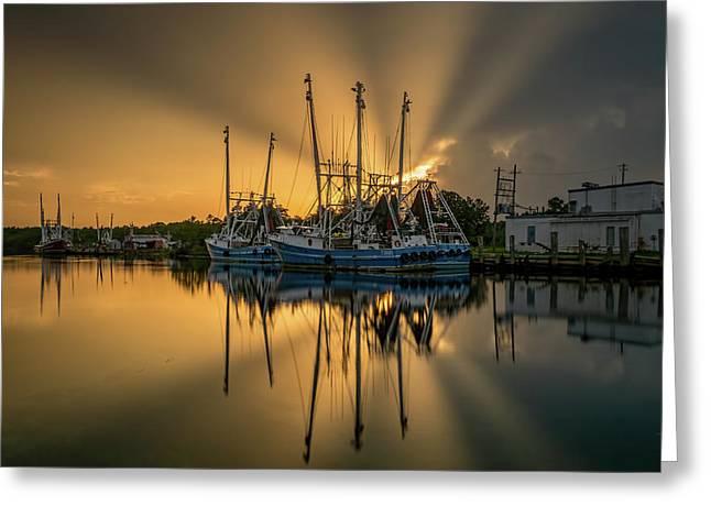 Dramatic Bayou Sunset Greeting Card