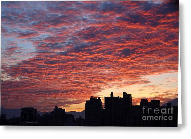 Greeting Card featuring the photograph Dramatic City Sunrise by Yali Shi
