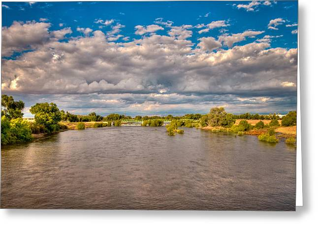 Dramatic Clouds And Kern River Greeting Card