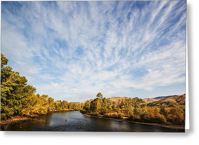 Dramatic Clouds Over Boise River In Boise Idaho Greeting Card by Vishwanath Bhat