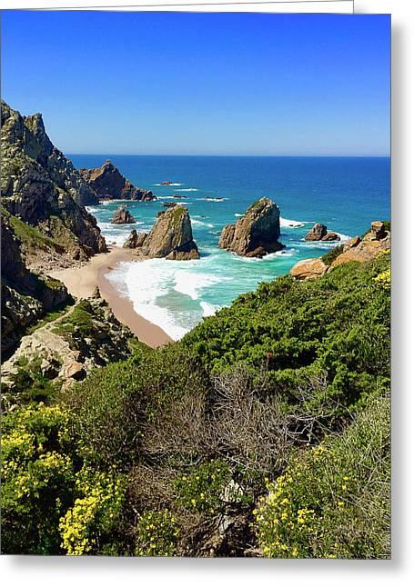 Dramatic Coastline And Beach - Portugal Greeting Card by Connie Sue White