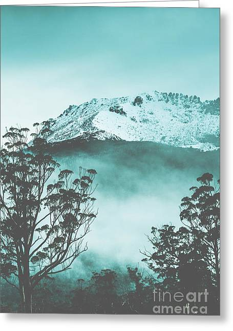 Dramatic Dark Blue Mountain With Snow And Fog Greeting Card