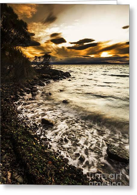 Dramatic Dark Coast Greeting Card by Jorgo Photography - Wall Art Gallery