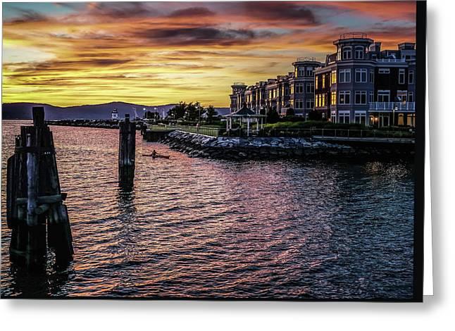 Dramatic Hudson River Sunset Greeting Card