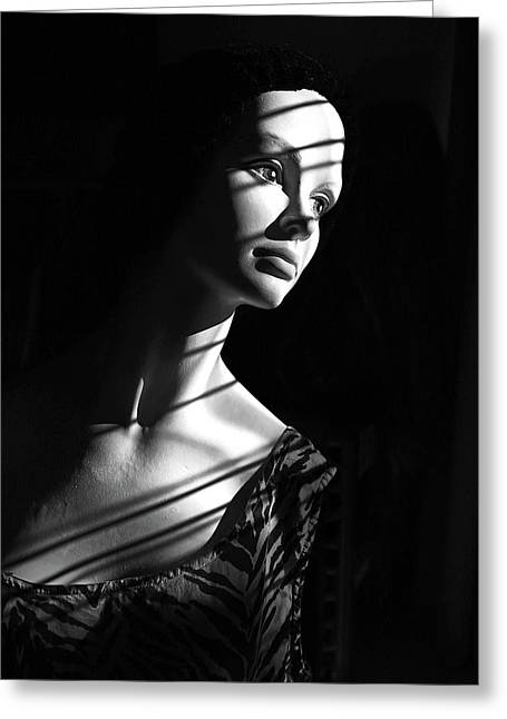 Greeting Card featuring the photograph Dramatic Lucy In Black And White by Nareeta Martin