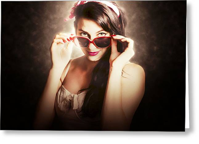Dramatic Pin Up Fashion Photograph Greeting Card