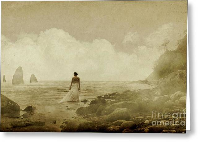Dramatic Seascape And Woman Greeting Card