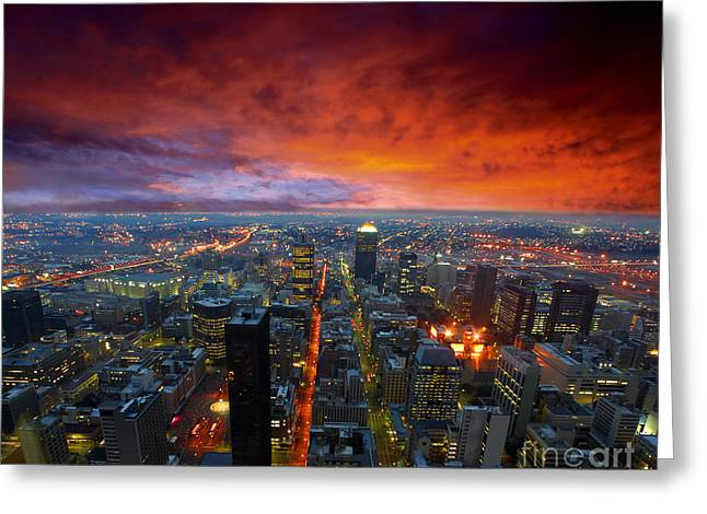 Dramatic Sky Over City Streets Greeting Card by Caio Caldas