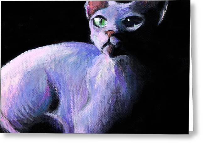 Dramatic Sphynx Cat Print Painting Greeting Card by Svetlana Novikova