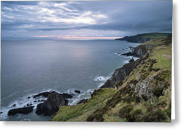 Dramatic Stormy Sunrise Landscape Over Bull Point In Devon Engla Greeting Card
