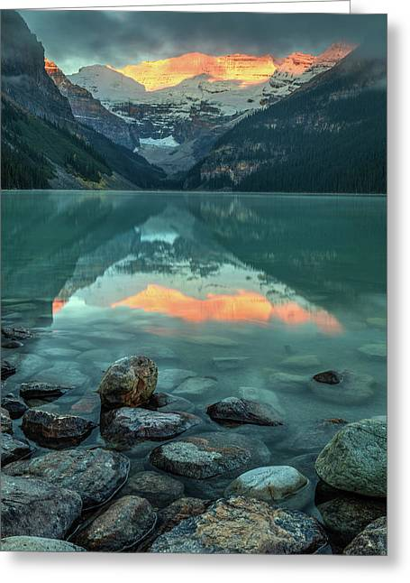 Greeting Card featuring the photograph Dramatic Sunrise At Lake Louise by Pierre Leclerc Photography