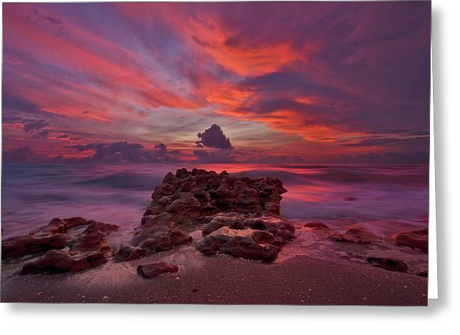 Greeting Card featuring the photograph Dramatic Sunrise Over Coral Cove Beach In Jupiter Florida by Justin Kelefas