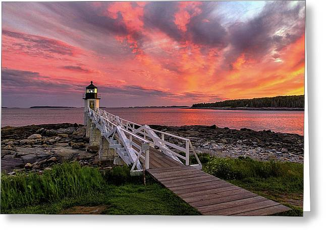 Dramatic Sunset At Marshall Point Lighthouse Greeting Card