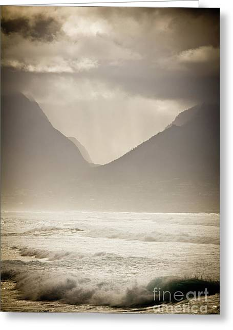 Dramatic Sunset On Maui Hawaii Iao Valley Greeting Card by Denis Dore