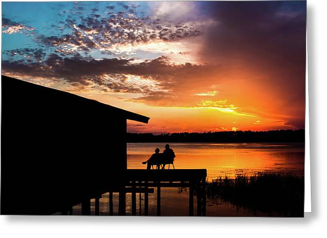 Dramatic Sunset On The Lake Greeting Card by Shelby  Young