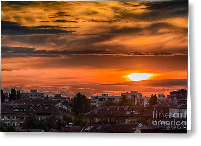 Dramatic Sunset Over Sofia Greeting Card by Jivko Nakev