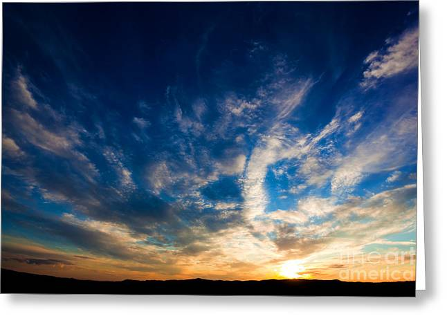 Dramatic Sunset Sky Over Tuscany Hills Greeting Card