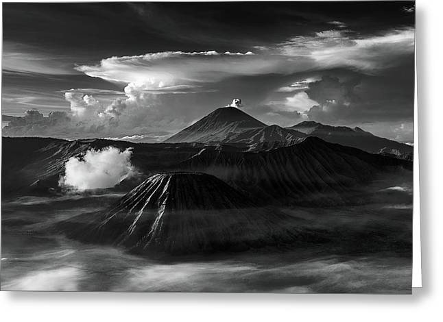 Dramatic View Of Mount Bromo Greeting Card
