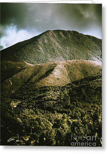 Dramatic View On Mount Zeehan Against Stormy Cloud Greeting Card