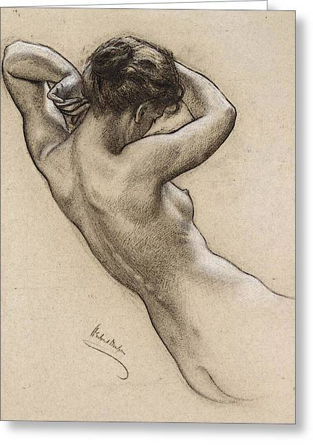 Draper Herbert James Study Of Florrie Bird For A Water Nymph In  Prospero Summoning Nymphs And Deities  Greeting Card
