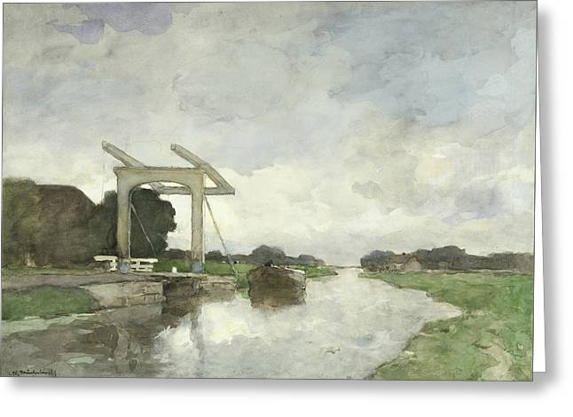 Drawbridge At North Greeting Card by Jan Hendrik Weissenbruch