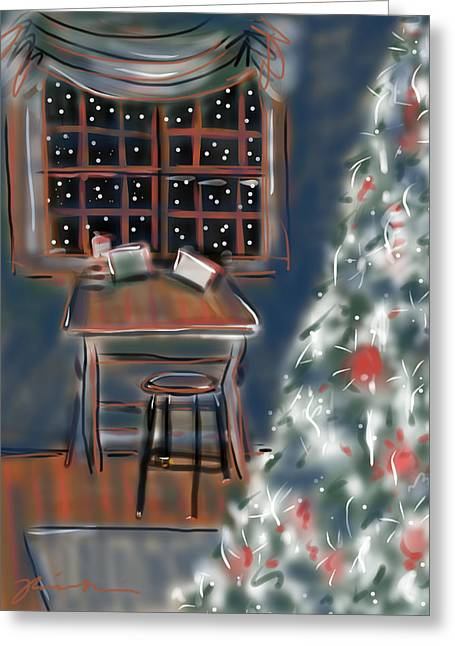 Greeting Card featuring the painting Drawing Board At Christmas by Jean Pacheco Ravinski