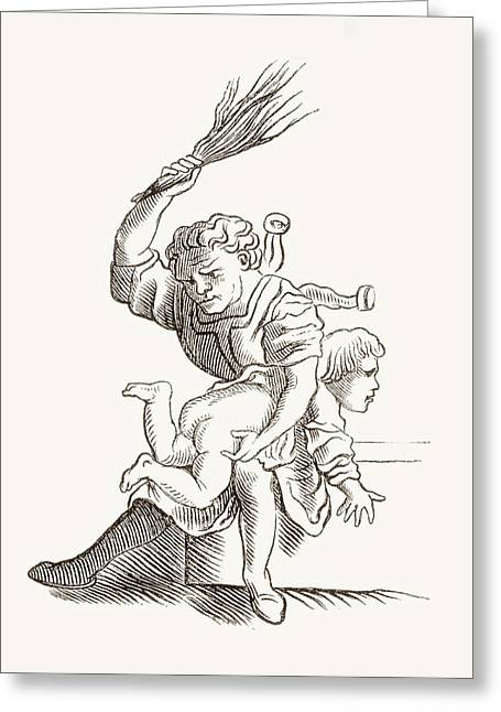 Drawing Of A Man Spanking A Child Greeting Card by Vintage Design Pics