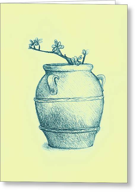 Drawing Of A Tree Branch In A Flower Pot Greeting Card by Oana Unciuleanu