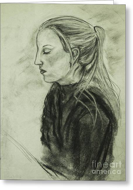 Greeting Card featuring the drawing Drawing Of An Artist by Angelique Bowman