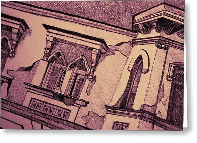 Drawing Of An Old Venetian Palace Greeting Card by Oana Unciuleanu