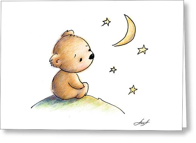 Drawing Of Cute Teddy Bear Watching The Star Greeting Card