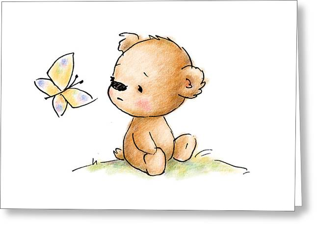Drawing Of Cute Teddy Bear With Butterfly Greeting Card