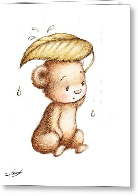 Drawing Of Teddy Bear Hiding From The Rain Under A Big Green Lea Greeting Card